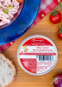 Perfekt für 500g feinster Wurstsalat.Unser Tipp: Mit frischen Tomaten, Gurken und roten Zwiebeln verfeinern.
