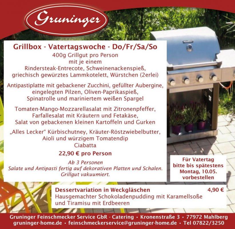 An Vatertag wird gegrillt! Unsere Grillbox für Do/Fr/Sa/So ...und die Mutter bekommt noch ein leckeres Dessert 😃 Wir freuen uns auf Ihre Bestellung! http://www.gruninger-home.de